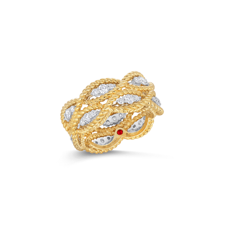 Roberto Coin Barocco Two Row Diamond Ring in Yellow Gold Marshall Pierce & Company Chicago