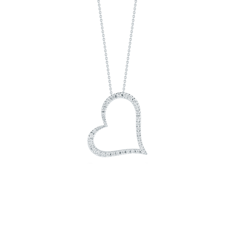 Tiny treasures slanted heart diamond pendant in white gold roberto coin tiny treasures 18k white gold slanted mozeypictures Gallery