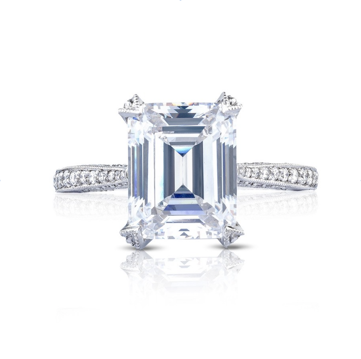 Sale Tacori Classic Crescent Emerald Cut Diamond Engagement Ring 50 Off Marshall Pierce Chicago