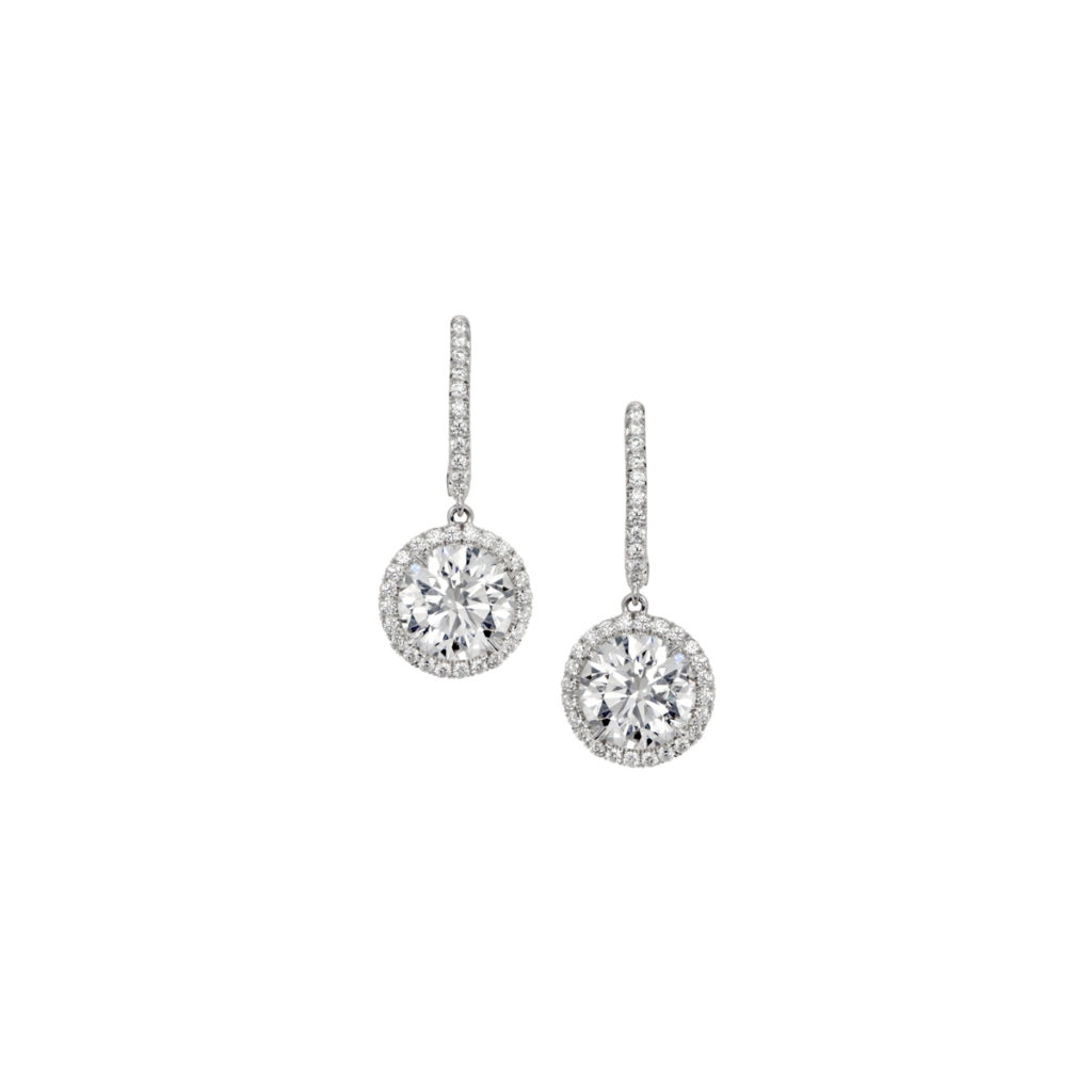 1 28 Carat Diamond Halo Drop Earrings Marshall Pierce