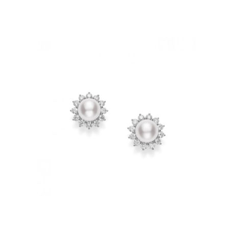 Mikimoto PEM36NDW Classic Elegance White South Sea Pearl & Diamond Stud Earrings Chicago Marshall Pierce & Company
