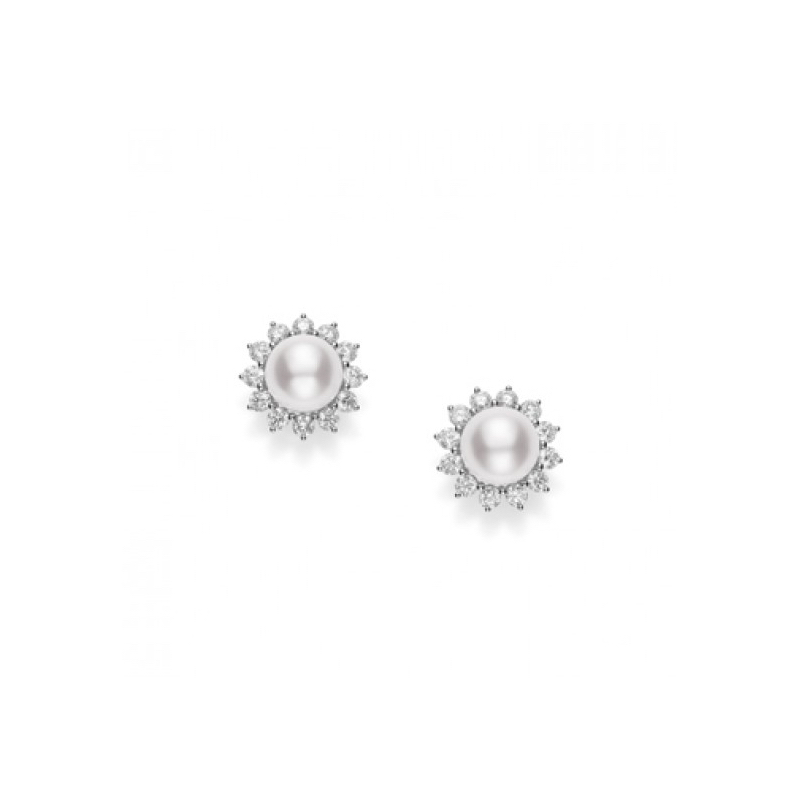Mikimoto Pem36ndw Clic Elegance White South Sea Pearl Diamond Stud Earrings Chicago Marshall Pierce