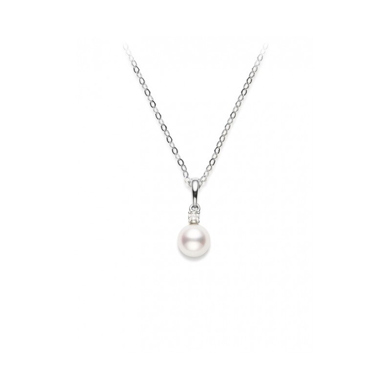 Mikimoto White Gold Pearl and diamond pendant