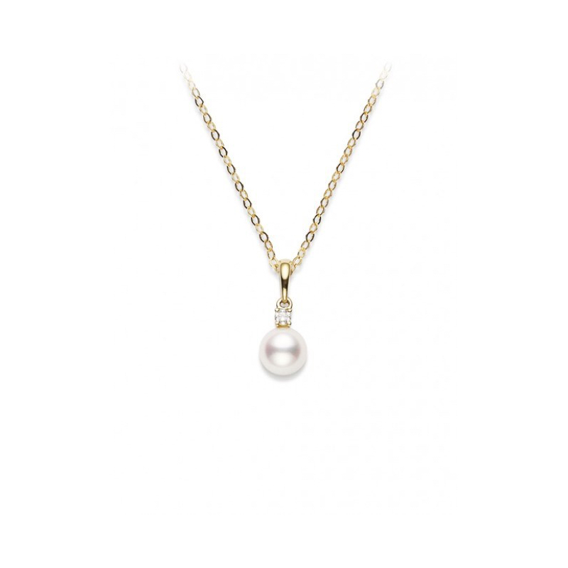 Mikimoto Yellow Gold Pearl & Diamond Pendant Marshall Pierce & Company Chicago