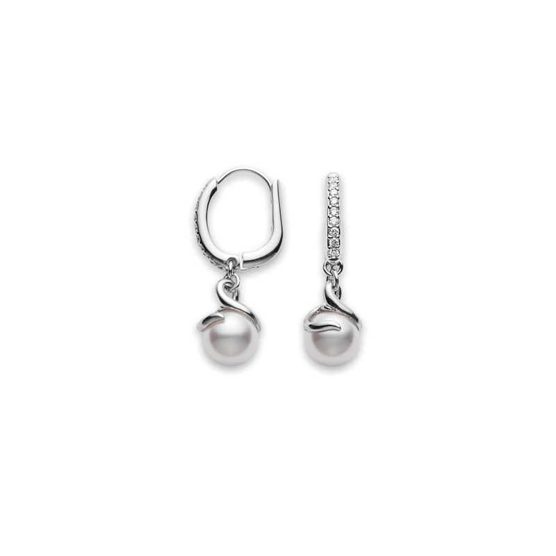 Mea10016adxw Twist Akoya Cultured Pearl Earrings In White Gold Marshall Pierce Company Chicago