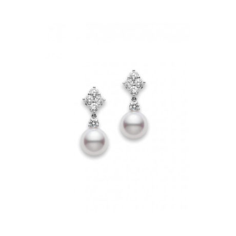 pea1048dw Mikimoto Classic Elegance Drop pearl and diamond earrings Marshall Pierce & Company Chicago