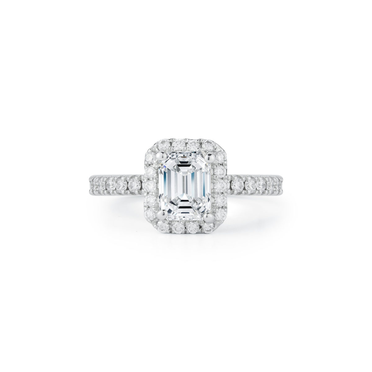 1.31 Carat Emerald-Cut Diamond Halo Engagement Ring