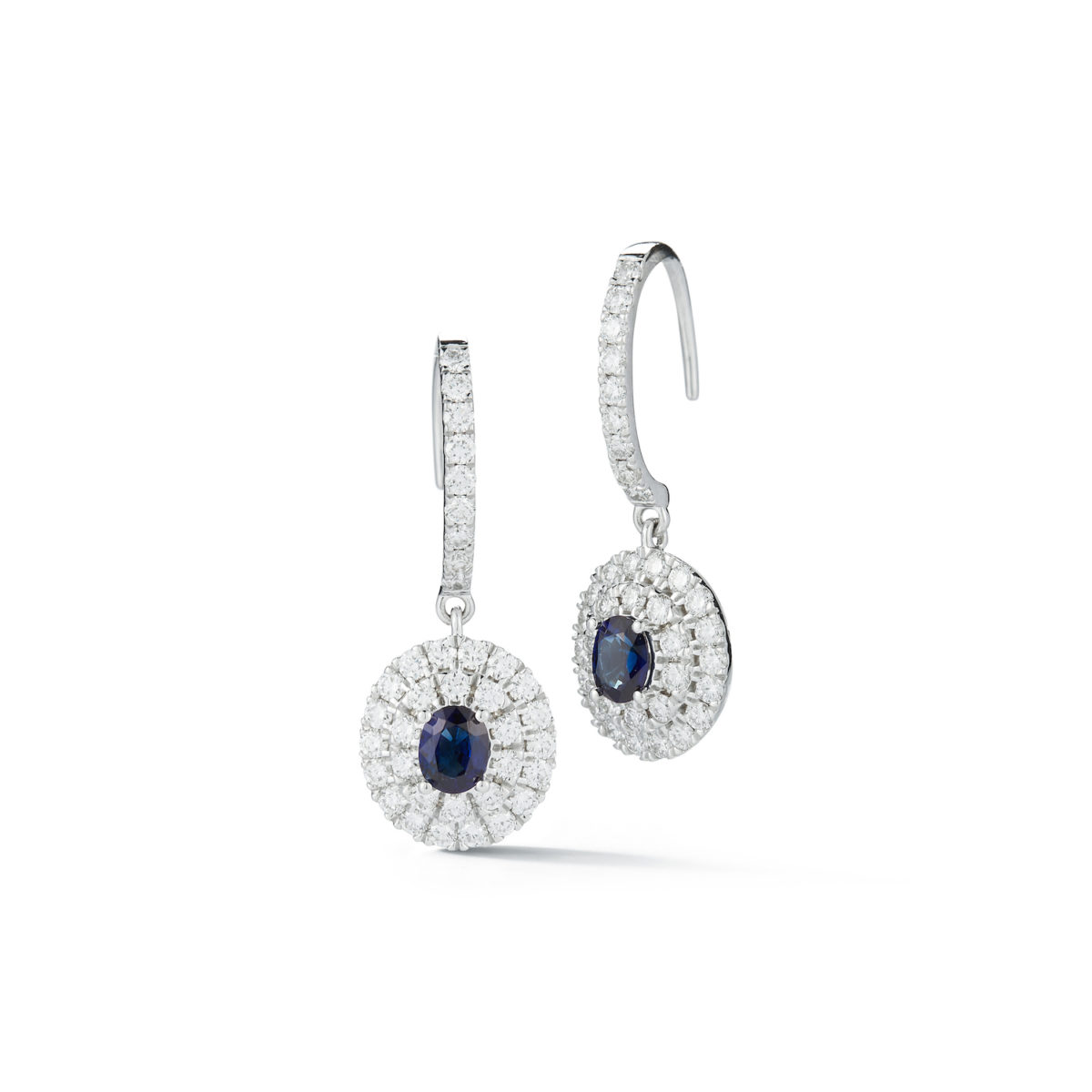 Double Halo Sapphire Diamond Drop Earrings Marshall Pierce & Company Chicago