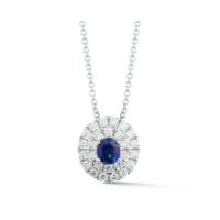 Marshall Pierce & Company Chicago .060 Carat Double Row Halo sapphire pendant chicago fine jewelry