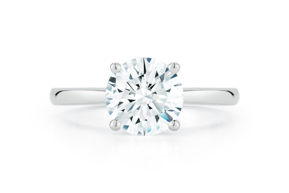 1.93 Carat Round Brilliant Diamond Cathedral Solitaire Engagement Ring