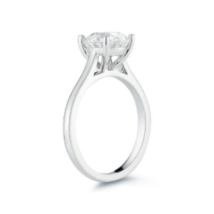 Round Brilliant Diamond Cathedral Solitaire Engagement Ring