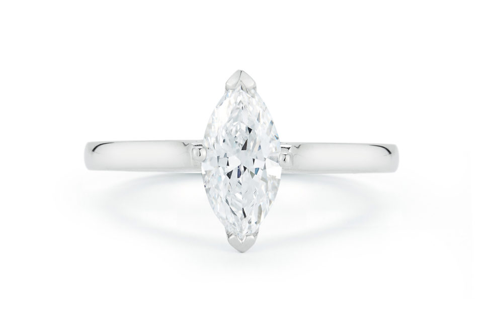 Marshall Pierce & Company Marquise Cut Diamond Solitaire Engagement Ring