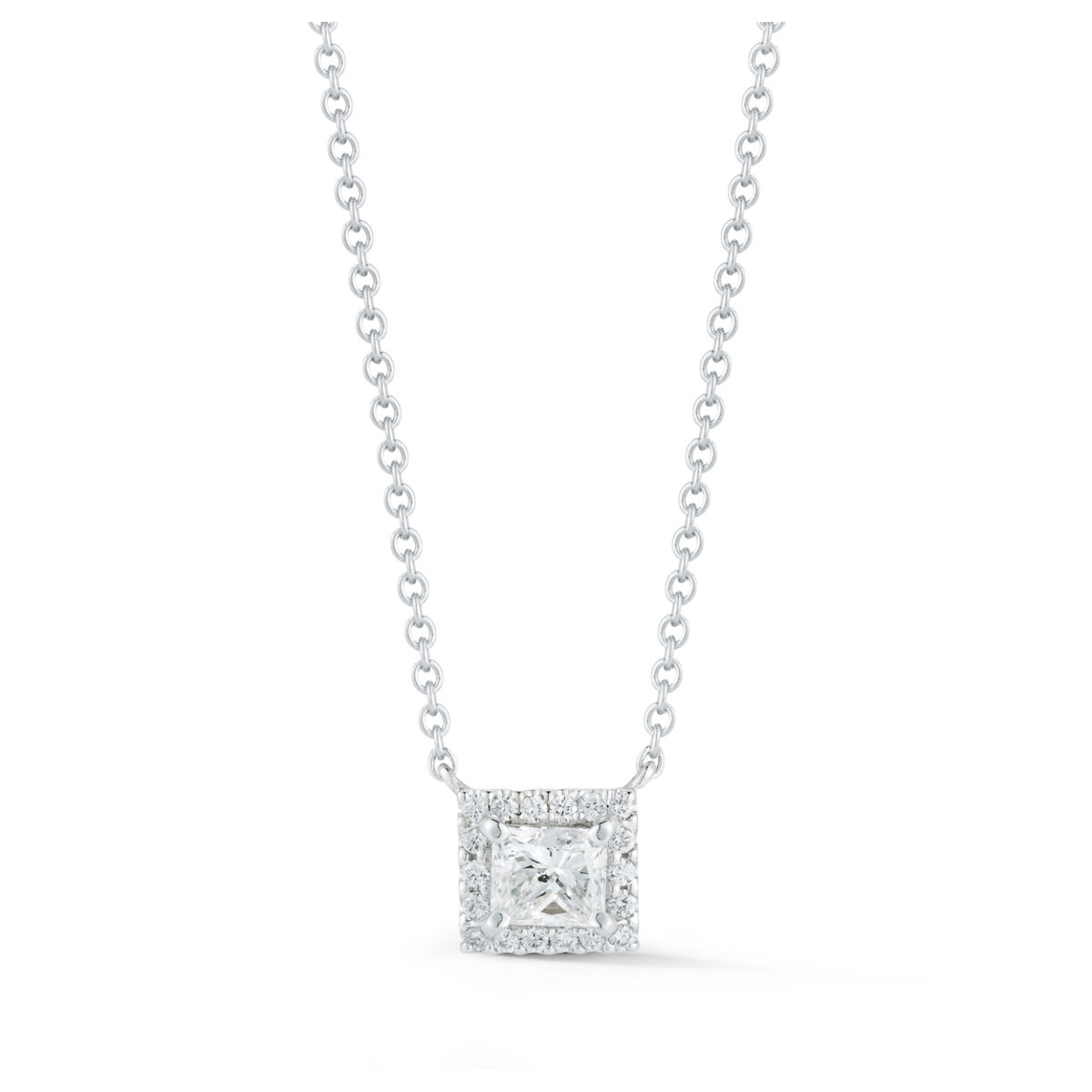 Princess Cut Diamond Halo Pendant Marshall Pierce & Company Chicago fine jewelry