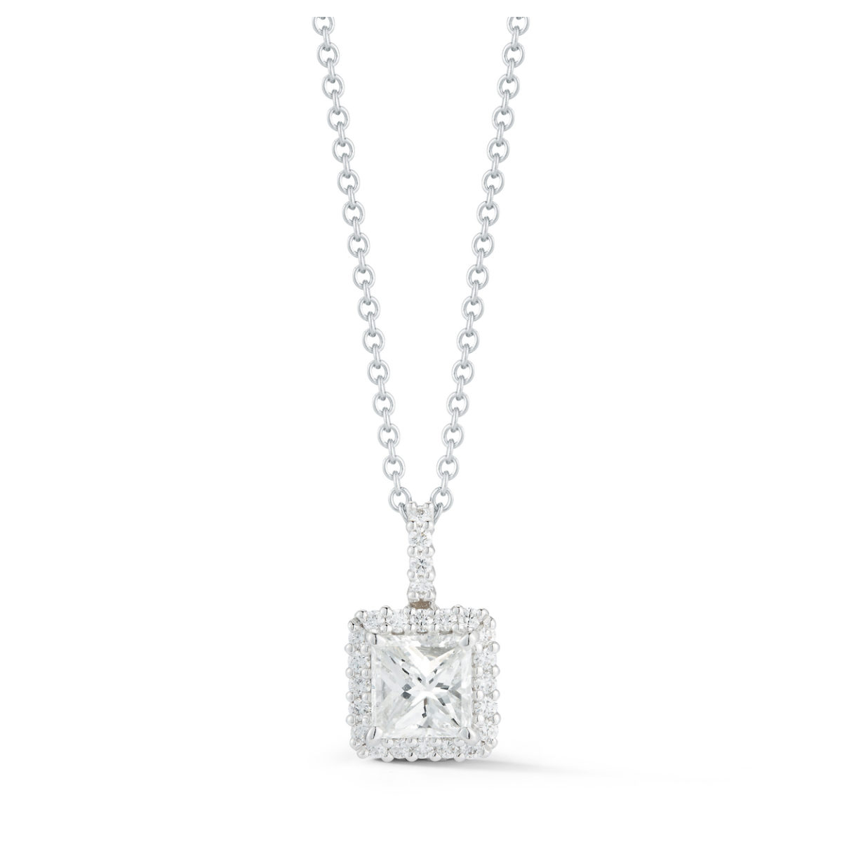 necklace princess cut pendant elegant white gold