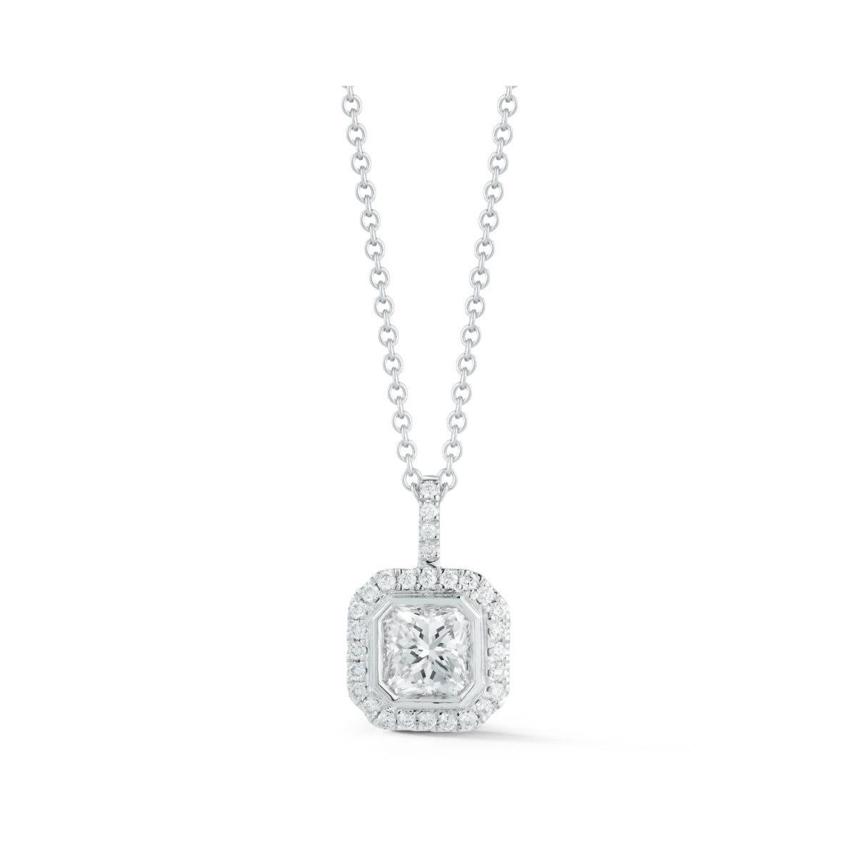 Radiant-Cut Diamond Halo Pendant Marshall Pierce & Company Chicago Fine Jewelry
