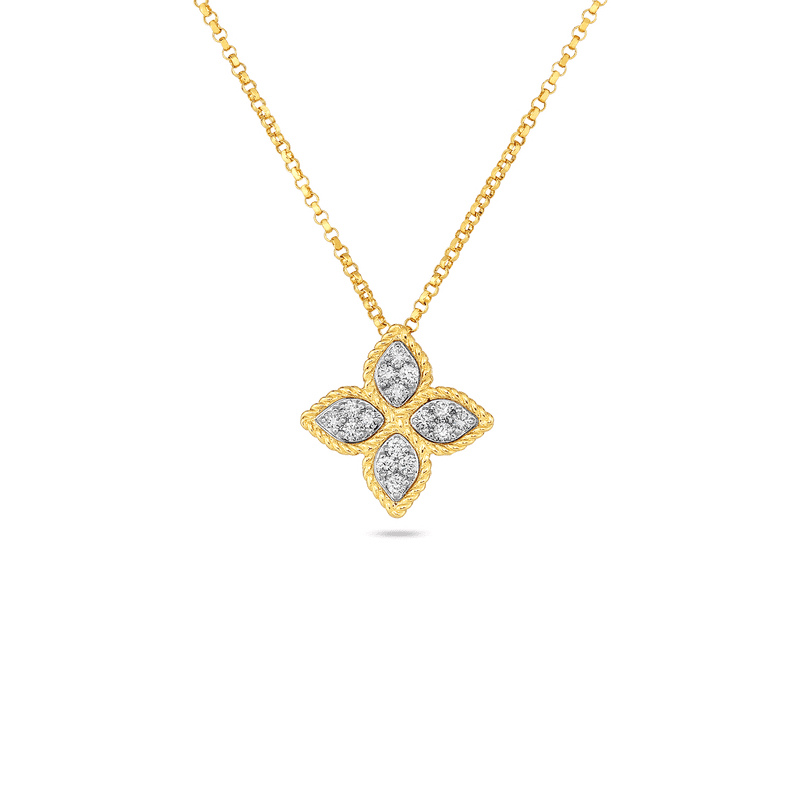 7771371AJCHX Roberto Coin Princess Flower Pendant in yellow gold Marshall Pierce & Company Chicago