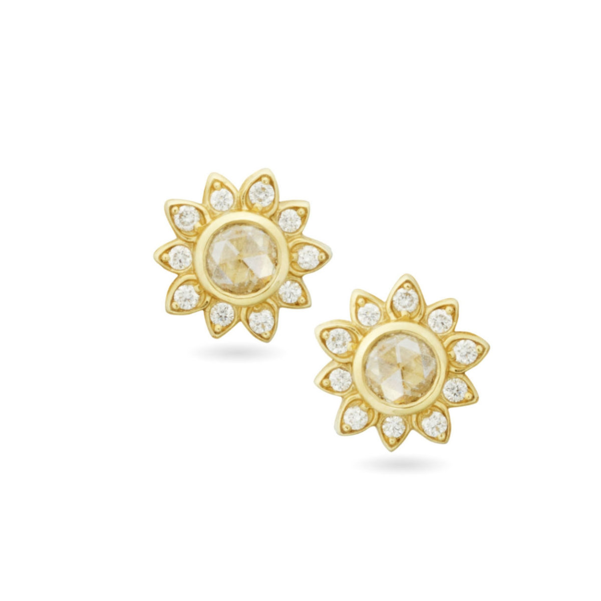 AMT Jewelry Design Rose Soleil diamond stud earrings Marshall Pierce & Company Chicago