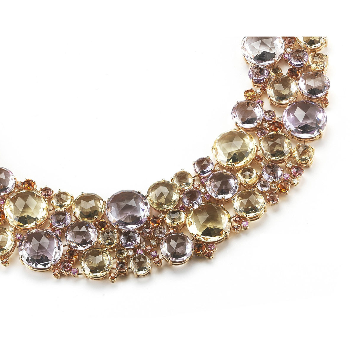 "A & Furst ""Bouquet"" Bib Necklace in Rose Gold"