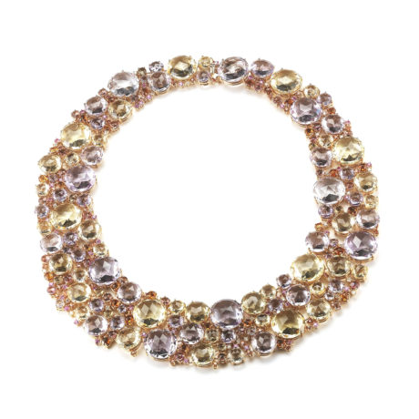 C0252RRFCR1 A & Furst Bouquet - Bib Necklace with Rose de France, Citrine, Pink Tourmaline, Orange and Pink Sapphires and Diamonds, 18k Rose Gold Marshall Pierce & Company Chicago