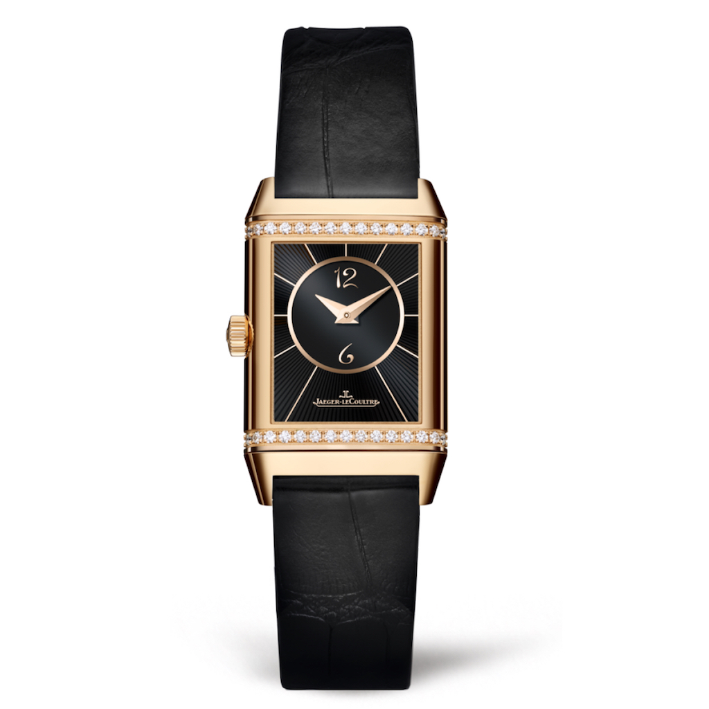 0ea26bf8b5d Reverso Classic Small Duetto PINK GOLD REF. 2662430 Black Dial Diamonds Jaeger  le Coultre Marshall
