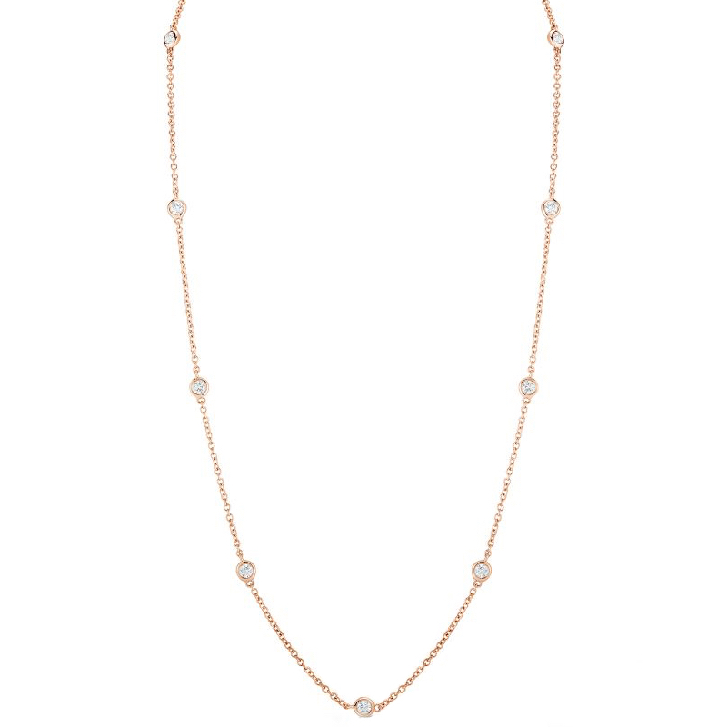 Rose Gold Diamonds by the inch Necklace 2