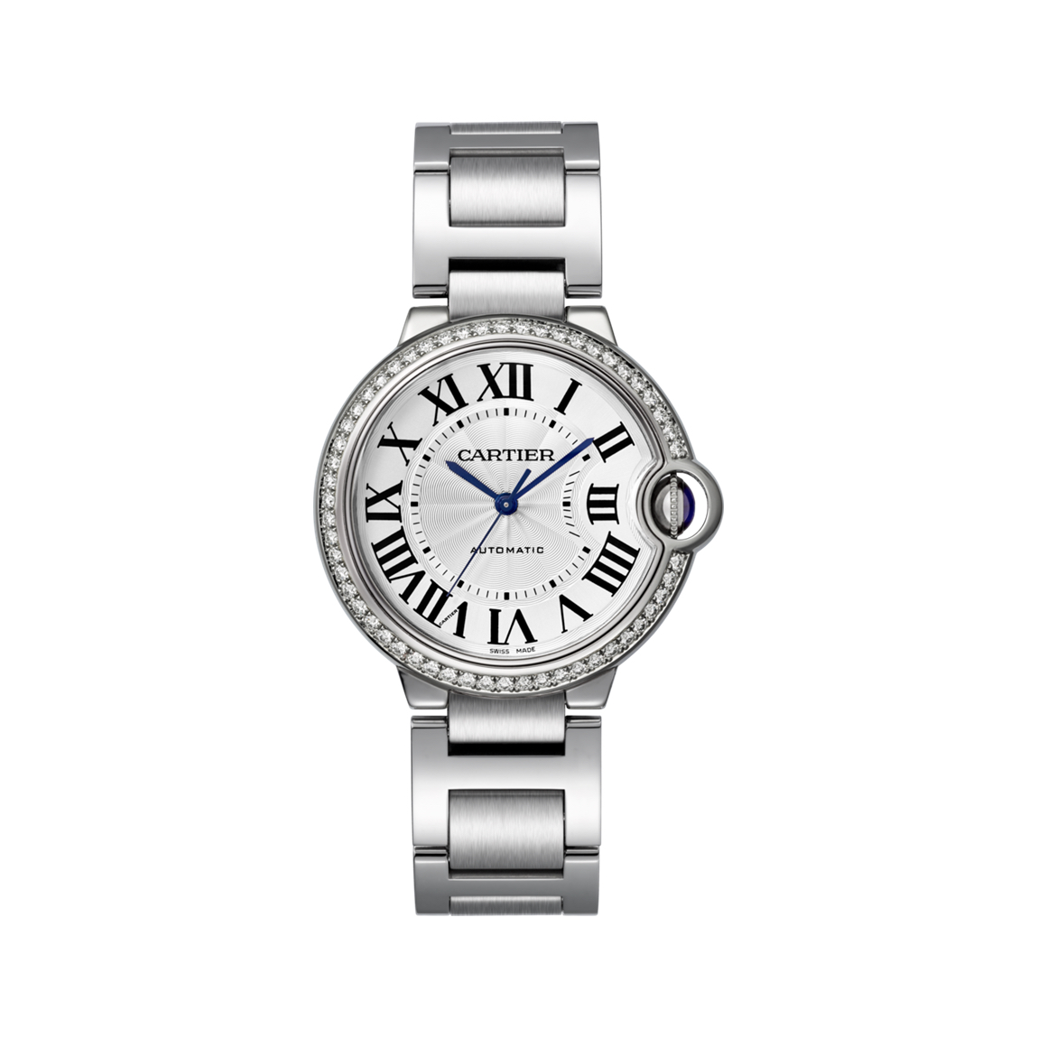 w4bb0017 Cartier Ballong Bleu ladies watch in steel with diamond bezel Marshall Pierce & Company Chicago