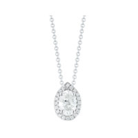 0.65 Carat oval diamond halo pendnat in white gold Marshall Pierce & Company Chicago
