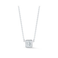Bezel Set Princess Cut Diamond Pendant in White Gold Marshall Pierce & Company Chicago Fine Jewelry