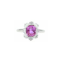 Oscar Heyman Pink Sapphire Diamond Ring in Platinum Marshall Pierce & Company Chicago Fine Jewelry
