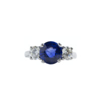 Oscar Heyman Round Sapphire and Diamond Three stone ring in platinum Marshall Pierce & Company Chicago fine jewelry