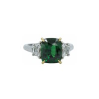 Oscar Heyman Tsavorite and diamond three stone platinum ring Marshall Pierce & Company Chicago fine jewelry