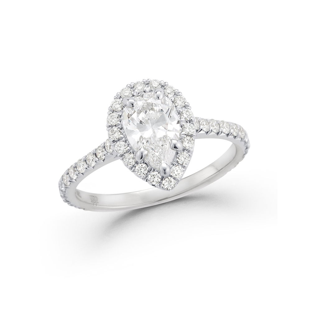 Pear Shape Diamond Halo Engagement Ring Marshall Pierce & Company Chicago