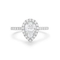 Pear Shape Diamond halo Engagement Ring Chicago Marshall Pierce & Company Fine Jewelry