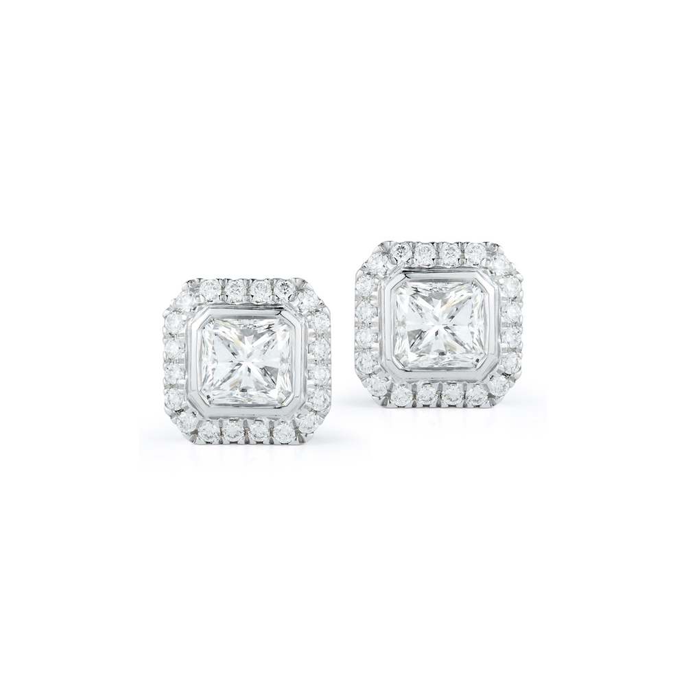 Radiant Cut Diamond Halo Stud Earrings Marshall Pierce & Company Chicago Fine Jewelry