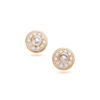 AMT Signature Collection Rose Cut Diamond Stud Earrings in Rose Gold