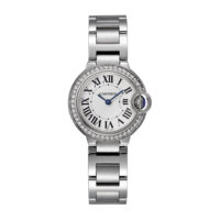 Ballon Bleu de Cartier in Steel with Diamonds - 28mm - Ladies Watch - W4BB0015