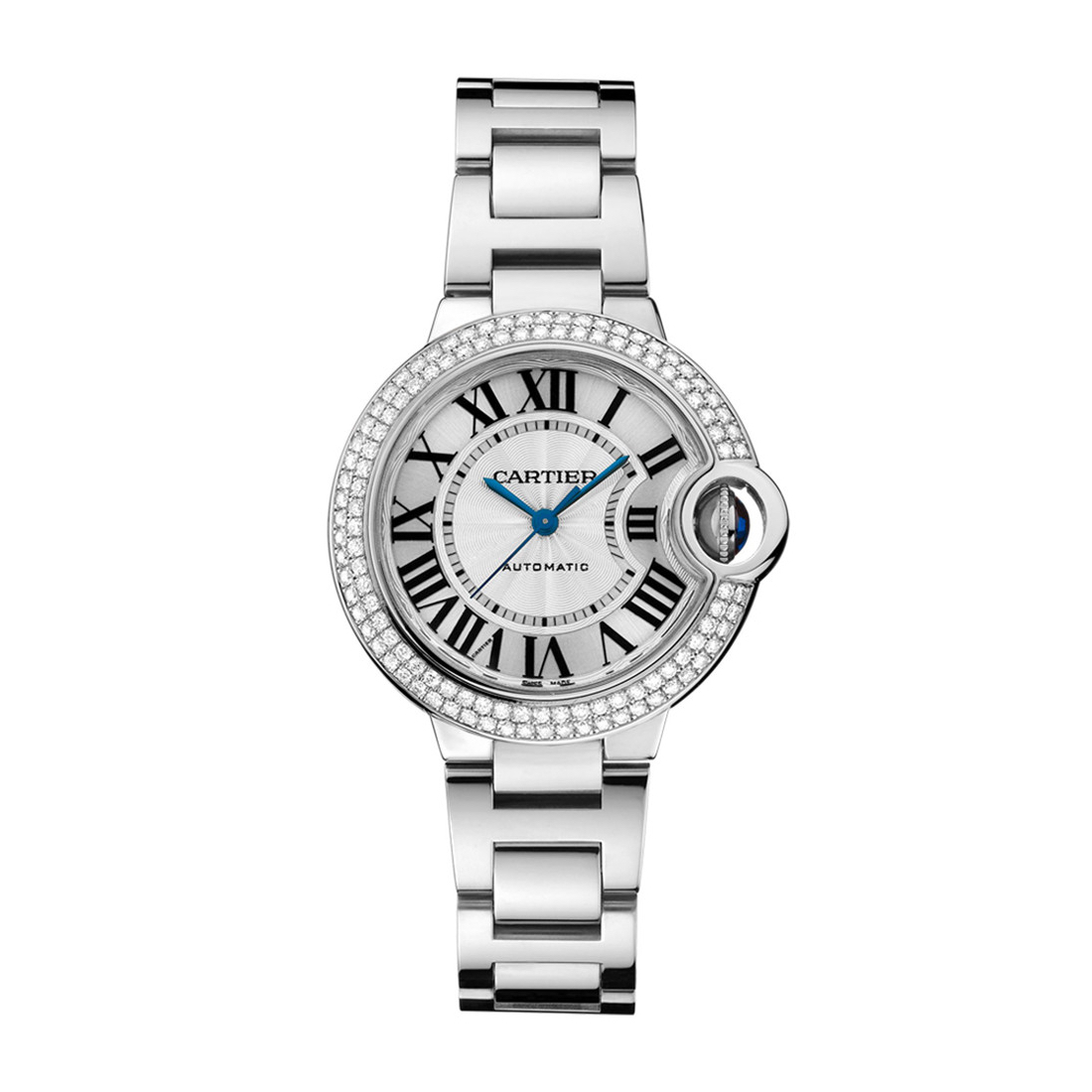 Ballon Bleu de Cartier in White Gold with Diamonds - 33mm - Ladies Watch - WE902065