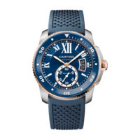 Calibre de Cartier Diver Blue in Steel & Pink Gold - 42mm - Men's Watch - W2CA0009