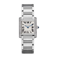 Cartier Tank Francaise in Steel with Diamonds - Medium Model - Ladies Watch - W4TA0009