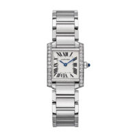 Cartier Tank Francaise in Steel with Diamonds - Small Model - Ladies Watch - W4TA0008