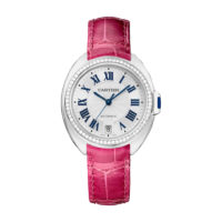 Cle de Cartier WJCL0014 Ladies watch in white gold with diamond bezel on pink strap