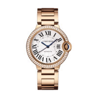 Pre Owned Cartier WE9005Z3 Ladies Watch Ballon Bleu in Pink Gold with Double Row Diamond Bezel 36mm