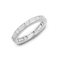 Oscar Heyman Round & Baguette Diamond Eternity Band Platinum Chicago Marshall Pierce