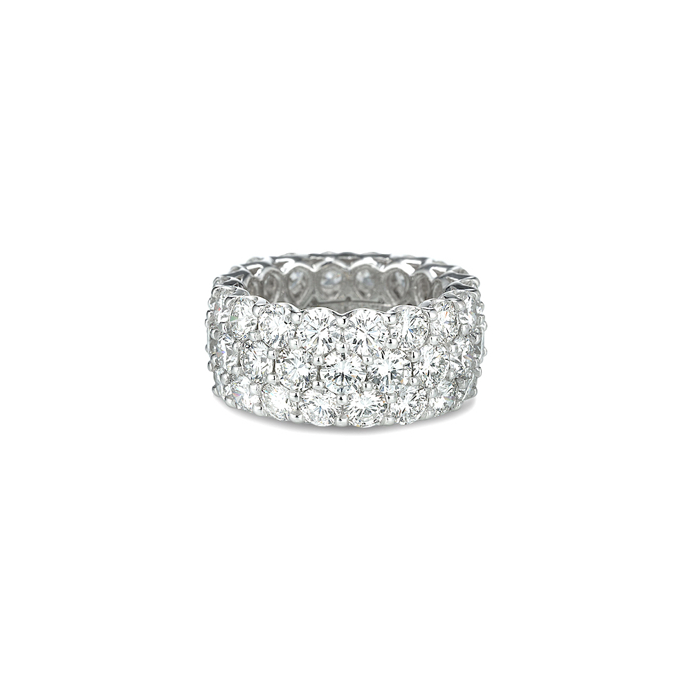 A Link Three Row Diamond Eternity Band: Link Diamond Wedding Band At Reisefeber.org