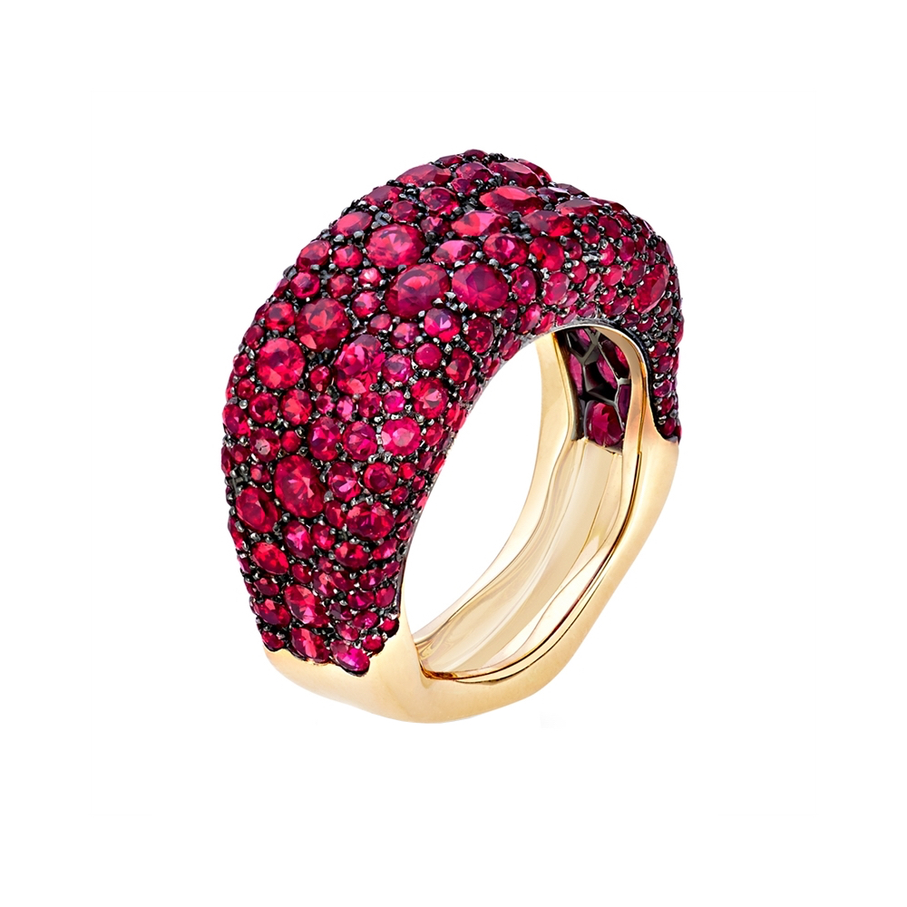 0018738_800 Faberge Emotion Thin Yellow Gold Ruby Ring Marshall Pierce Chicago