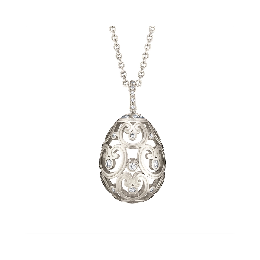 0028576_800 Faberge Imperial Egg Pendant in White Gold with Diamonds Marshall Pierce Chicago