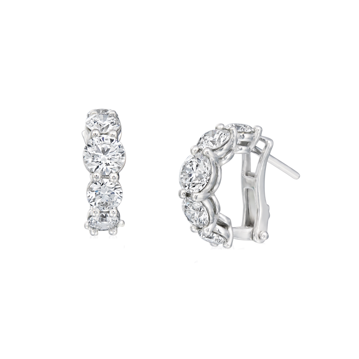 A. Link Diamond Huggie Earrings in White Gold Marshall Pierce Chicago