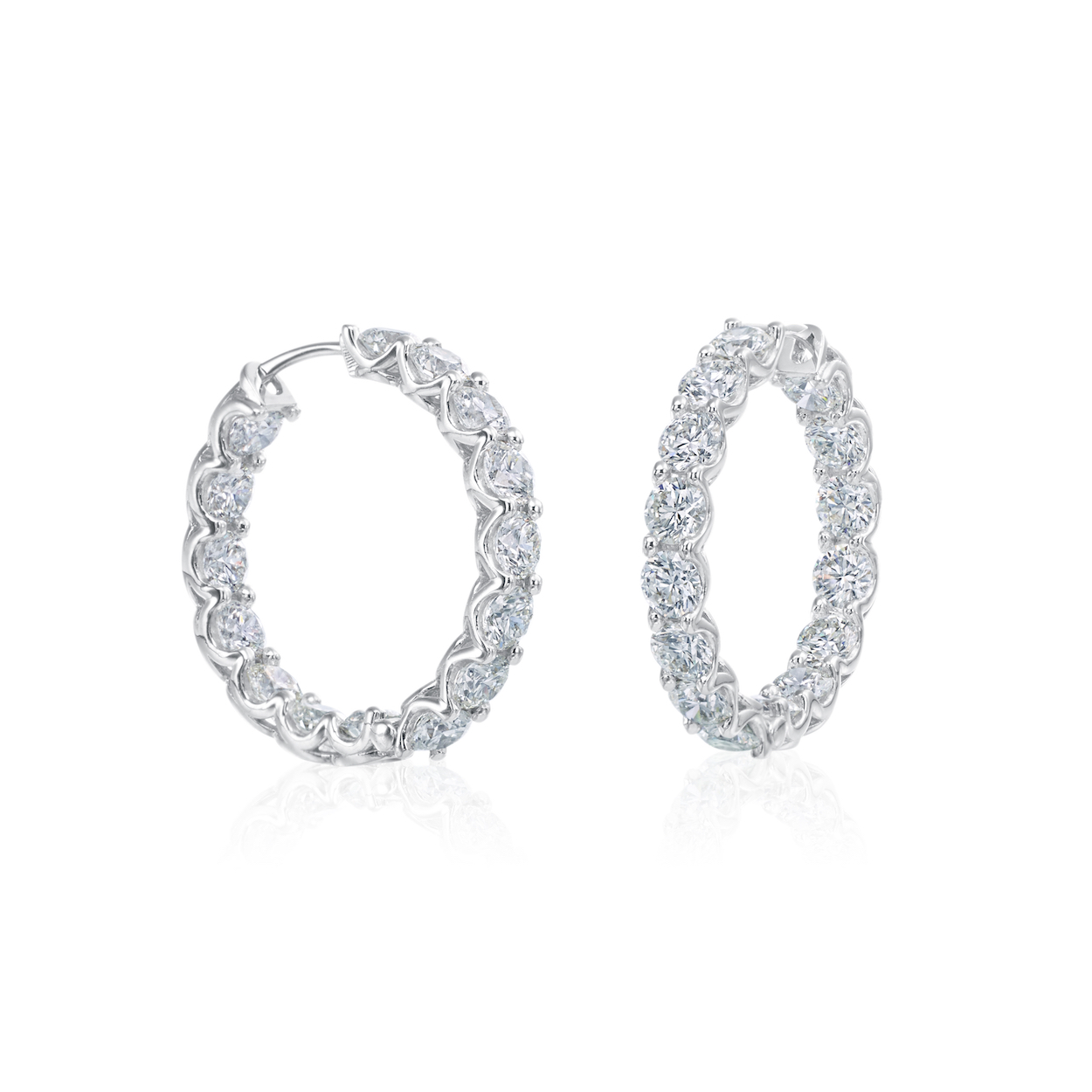 A. Link Inside Out Diamond Hoop Earrings White Gold Marshall Pierce Chicago