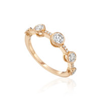 A. Link Rose Gold Bezel Set Diamond Ring Band Marshall Pierce Chicago