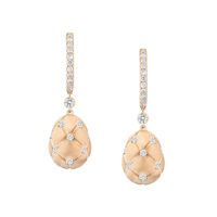 Faberge Treillage Rose Gold & Diamond Drop Earrings Marshall Pierce Chicago